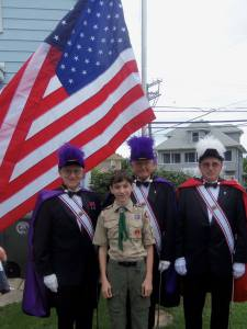 Eagle Scout Thomas Seddon and members of the Knights of Columbus Color Corps from Archbishop C.J. Damiano, Bishop James Schad, and Bishop Eustace Assemblies