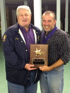 District Deputy Mike Walter presents the Double Star Award to Grand Knight Ray Iacovone.
