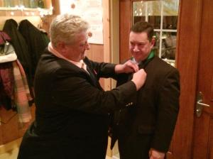 Former Membership Director Jim Cosgrove receives his Star Award pin from District Deputy Mike Walter