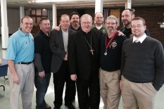 We are always happy to serve at the pleasure of the Bishop. — with Raymond Iacovone, Jim Cosgrove, Deacon Kevin Heil, Neal Cullen, Bishop Dennis Sullivan, George Hayes III, Albert Duaime, Mike Walsh and Doug Miedel at Church of Saint Bridget.