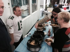 Our Grand Knight Ray Iacovone kept a watchful eye over the newest addition to our breakfast, the toppings bar.