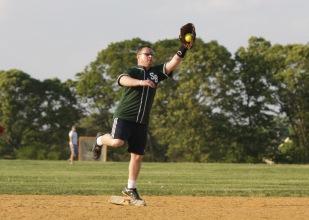 Like a gazelle Jim Cosgrove plays a mean second base.