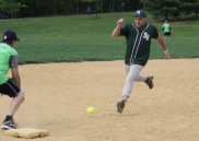 Ray Iacovone just beats out the throw to third base.