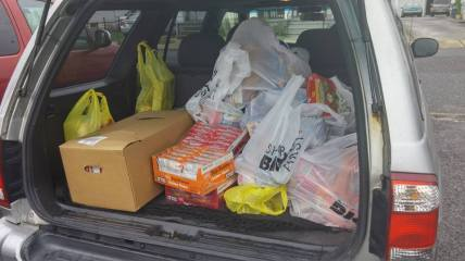 Just a small portion of the many goods our Knights brought to the organization.