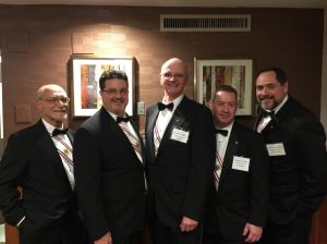 Our Worthy Warden, Sir Knight Tony Hocker stands to the left of our council's newest Sir Knights, Neal Cullen, Ed Welsh, Jim Cosgrove and Mike Walsh.